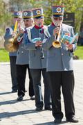 Orchestra horns Stock Photos
