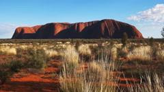 Uluru from sunrise viewing area Stock Footage