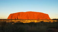 Ayers rock at sunset close up Stock Footage