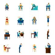 Frustration People Flat Icon Set - stock illustration