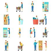 Buyers Flat Icon Set Stock Illustration