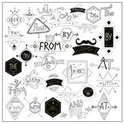 Black catchwords symbols on whiteboard Stock Illustration