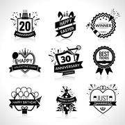 Celebration Black Emblems Set Stock Illustration