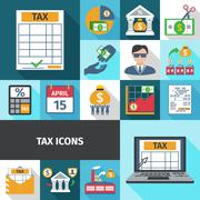 Tax Flat Icon Set Stock Illustration