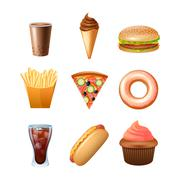Fast food menu flat icons set - stock illustration