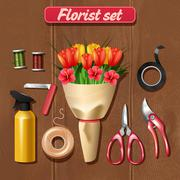 Florist Accessories Set - stock illustration