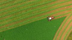 Agricultural Combine Harvesting Crop in Farm Field Stock Footage