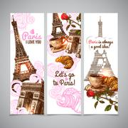 Paris Vertical Banners - stock illustration