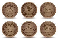 Wine barrels icons set - stock illustration