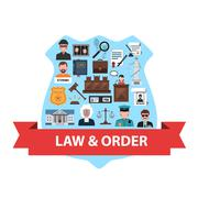 Law Concept Flat Stock Illustration