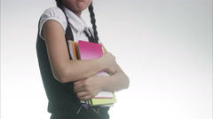 Schoolgirl making faces. Stock Footage