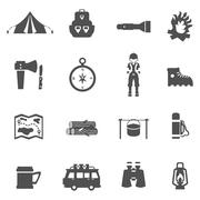 Camping Icons Black Stock Illustration