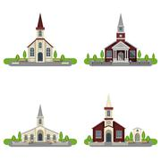 Church Decorative Flat Icon Set Stock Illustration