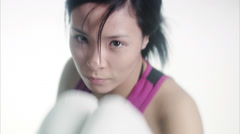 A woman boxing. Stock Footage