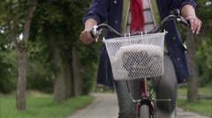 Woman on a bicycle, Sweden. Stock Footage