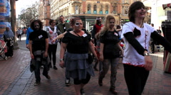 Zombies walking the street - stock footage