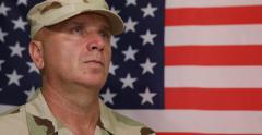 American Brave Soldier Stood Attention Position Honor U.S. Flag Desert Uniform Stock Footage