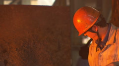 China, Ningbo Steel Mill worker - stock footage