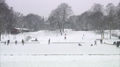 Children and grownups skating a wintry park, Stockholm, Sweden. Stock Footage