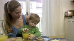 Mother and son having breakfast, Sweden. Stock Footage