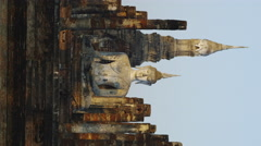 Early Sun shining on Wat Mahathat at the Historical Park - stock footage