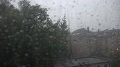 4k Thunderstorm lightnings city backstreet indoor Stock Footage