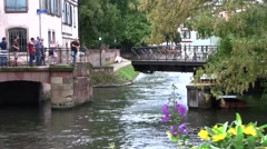 Swing Bridge on Strasbourg Canal, Alsace, France Stock Footage