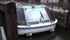 Water Taxi in Strasbourg, Alsace region of France Stock Footage
