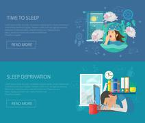 Sleep Time Banner Stock Illustration