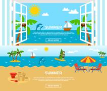 Summer And Beach Banners Set Stock Illustration