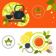 Tea Banner Set Stock Illustration