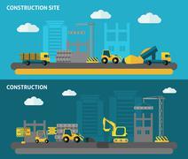 Construction Banner Set - stock illustration