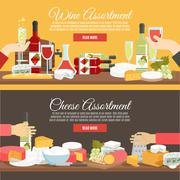 Stock Illustration of Cheese And Wine Flat Banner Set
