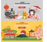 Japanese Tradition Flat Banner Set - stock illustration