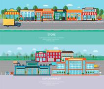 Store and supermarket banners set Stock Illustration