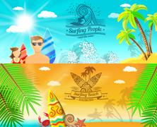 Surf Banner Horizontal Stock Illustration