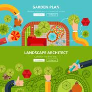 Landscape garden design concept poster - stock illustration