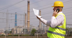 Maintenance Technical Man Phone Talk Control Energy Station Infrastructure Plan Stock Footage