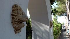 Spain Mallorca Island Cala Blava 037 whitewashed portal of a spanish estates Stock Footage