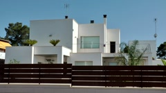 Spain Mallorca Island Cala Blava 026 white bungalow in spanish style Stock Footage