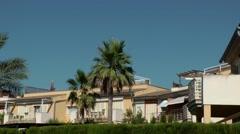 Spain Mallorca Island Cala Blava 032 spanish real estate backyard with hedge Stock Footage