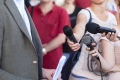 media interview. Broadcast journalism. - stock photo