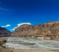 Himalayan landscape in Himalayas along Manali-Leh road. Himachal Pradesh, Ind Stock Photos