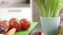 Woman making a salad, Sweden. Stock Footage