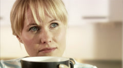 Woman having a cup of tee, Sweden. Stock Footage