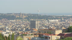 The National Palace and the Montjuic Tower in Barcelona Stock Footage