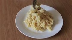 Pasta on a white plate Stock Footage