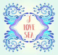 aquatic blue frame with wave, sparks and drops, water design - stock illustration