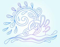decorative aquatic blue wave with sparks and drops - stock illustration