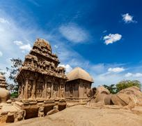 Five Rathas - ancient Hindu monolithic Indian rock-cut architecture. Mahabali - stock photo